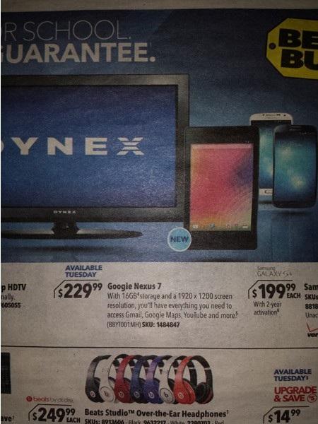 Ảnh quảng cáo trên tạp chí của Nexus 7 thế hệ mới