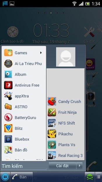 Nút tối ưu giải phóng bộ nhớ và nút truy cập vào màn hình Home trên Android