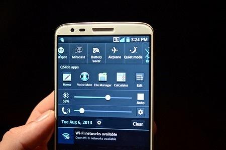 Các chế độ thiết lập nhanh trên LG G2.