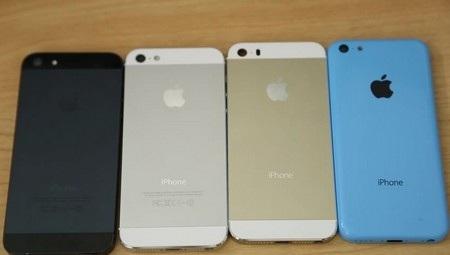 Lớp vỏ của iPhone 5 (trắng, đen), iPhone 5S (vàng nhạt) và iPhone 5C (xanh)