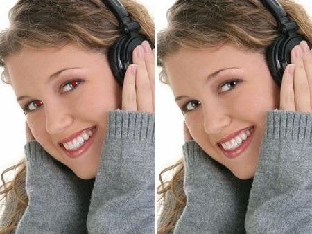 Hình ảnh trước và sau khi được xử lý mắt đỏ