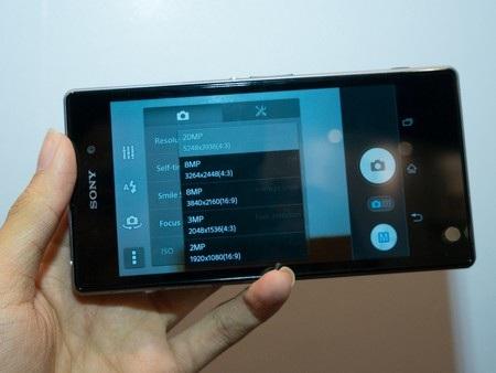 Giao diện chụp ảnh của Xperia Z1