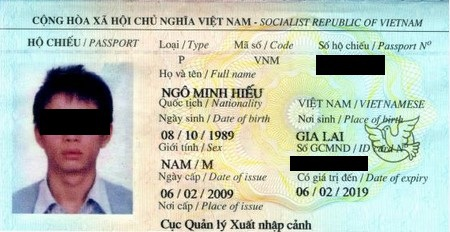 Hình ảnh hộ chiếu của Ngô Minh Hiếu khi bị bắt giữ tại Mỹ
