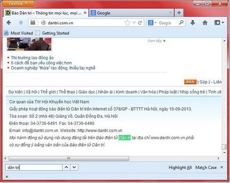 Thanh tìm kiếm nội dung trên Firefox được đồng bộ hóa trên mọi tab đang mở