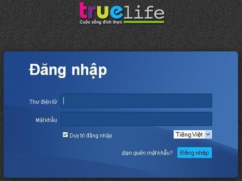 Giao diện đăng nhập TrueLife.