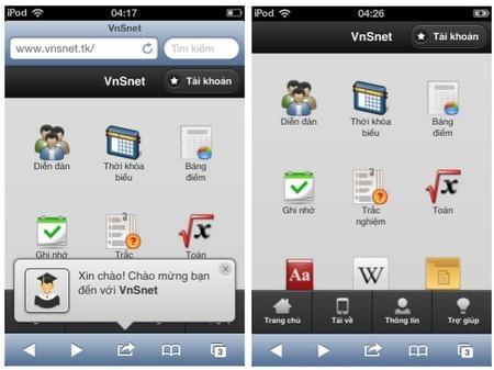 Giao diện VnSet trên iOS dưới dạng trình duyệt web và dưới dạng ứng dụng