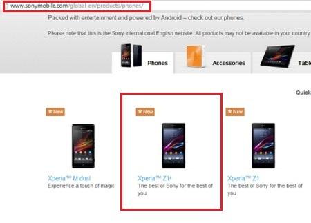Hình ảnh Xperia Z1s bất ngờ xuất hiện trên trang web chính thức của Sony