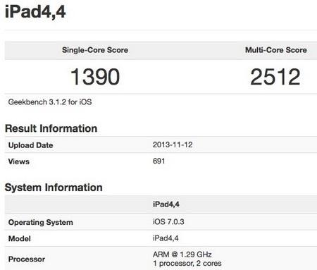 Điểm xử lý của iPad mini Retina trong các bài kiểm tra của Geekbench