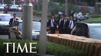 Dàn vệ sĩ chạy bộ theo xe của ông Kim Jong-un tại Singapore