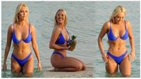 Amber Turner quyến rũ với áo tắm xanh