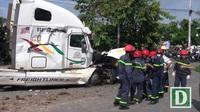 Hiện trường vụ xe container gây tai nạn kinh hoàng