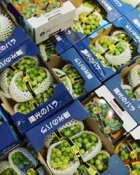 Nho sữa Trung Quốc đang được rao bán với giá 500.000 - 550.000 đồng/thùng khoảng 2,5 kg.