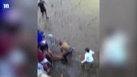 Người đàn ông may mắn sống sót sau khi bị bò tót tấn công tại lễ hội