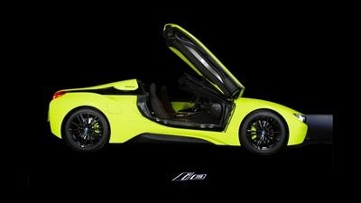 Cận cảnh chiếc BMW i8 Roadster màu xanh neon đặc biệt