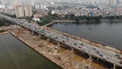 Toàn cảnh dự án đường vành đai 3 dưới thấp qua hồ Linh Đàm