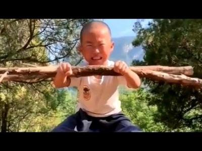 Các chú tiểu chùa Thiếu Lâm khổ luyện