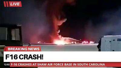 """Video tiêm kích F-16 của Mỹ gặp nạn, cháy ngùn ngụt như """"cầu lửa"""""""