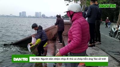 Hà Nội: Người dân nhộn nhịp đi thả cá chép tiễn ông Táo về trời
