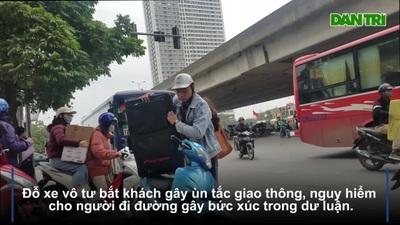 """Hà Nội: Xe khách thoả sức """"lộng hành"""" khu vực xung quanh bến xe Mỹ Đình"""