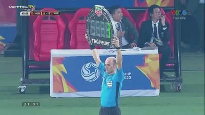 Kim Dae-Won dứt điểm chệch cột dọc khung thành U23 Australia ở phút 45+1