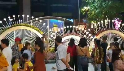 Giành giật nhau chỗ chụp ảnh trên đường hoa Nguyễn Huệ.