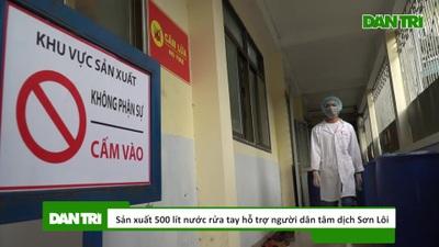Sản xuất 500 lít nước rửa tay hỗ trợ người dân tâm dịch Sơn Lôi