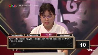 Phần thi Khởi động của nữ sinh Bắc Giang chiến thắng Olympia tuần này