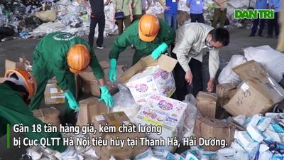 Hà Nội: Tiêu hủy 18 tấn xì gà, rượu, thực phẩm