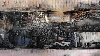 Hình ảnh kho hóa chất sau đám cháy lớn