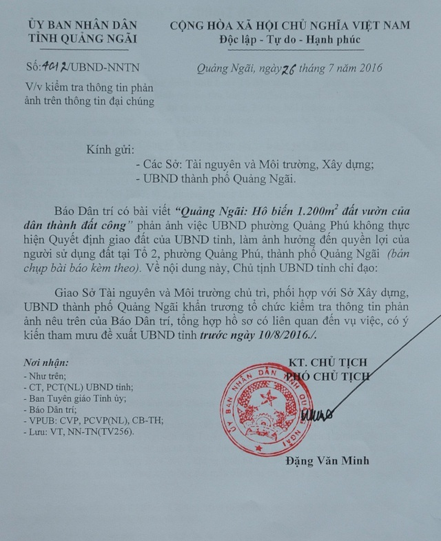 Chủ tịch UBND tỉnh Quảng Ngãi chỉ đạo các cơ quan khẩn trương vào cuộc sau khi báo Dân trí phản ánh.