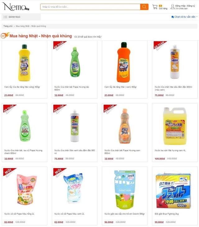 """Đa dạng các mặt hàng tẩy rửa, làm sạch """"Made in Japan"""" trên Nemo.vn"""