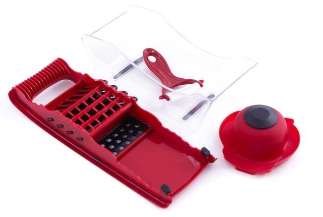 Trọn bộ sản phẩm: 01 nạo vỏ, 05 lưỡi bào khác nhau, dụng cụ giữ củ quả tích hợp khe cắm lưỡi bào & chân đế nhựa
