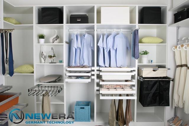 Phu kiện tủ áo NewEra - tăng khả năng lưu trữ giúp gia đình chủ động hơn trong không gian cho trang phục mùa hè và mùa đông.