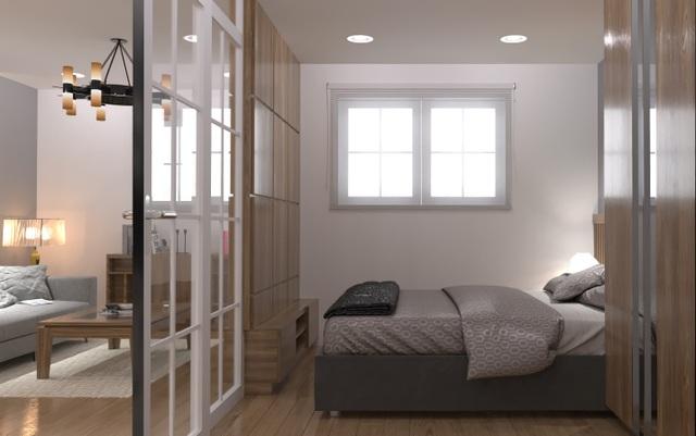 Thiết kế cửa trượt thông minh giúp kết nối không gian phòng ngủ và phòng khách trong căn hộ của dòng sản phẩm EHomeS.
