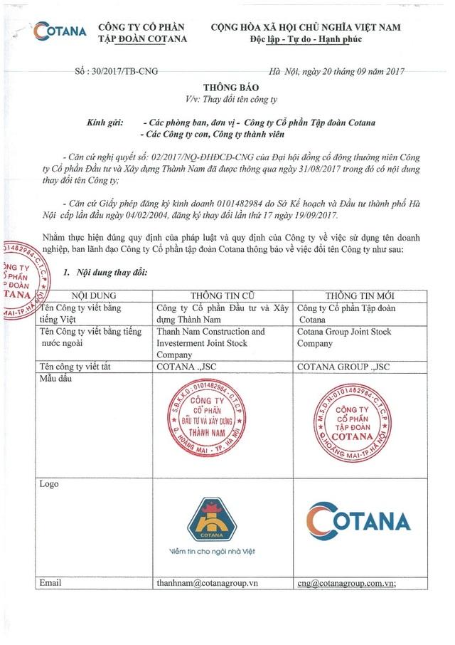 Thông báo chính thức đổi tên của Cotana Group
