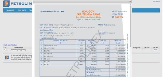 Mẫu hóa đơn điện tử của Tập đoàn Xăng dầu Việt Nam