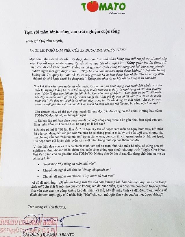 Lá thư của cô Nguyễn Thuý Uyên Phương, nhà sáng lập Trường ngoại khoá TOMATO children's home gửi tới phụ huynh và hàng trăm học trò nhỏ yêu quý.