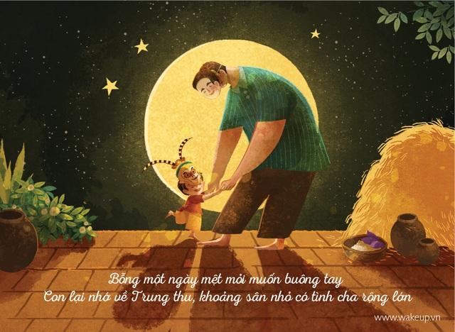 Hạnh phúc thủa bé đơn giản là được nô đùa cùng cha ở khoảng sân nhỏ trước nhà, tuổi thơ con cứ thế trôi qua êm đềm, không âu lo.
