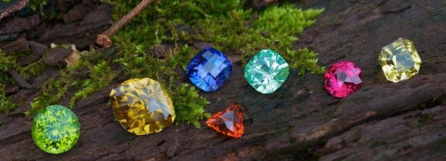 Từ trái sang phải Tourmaline xanh lá, saphia vàng, spinel cam, saphia xanh, tourmaline Paraiba, spinel, saphia vàng
