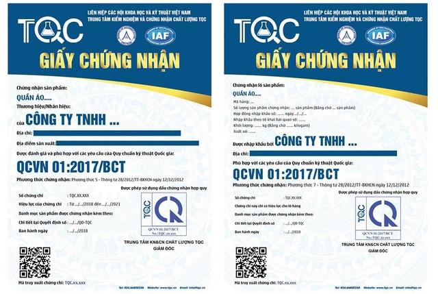 Mẫu giấy chứng nhận hợp quy sản phẩm may mặc, dệt may với hàng trong nước (trái) và lô hàng nhập khẩu (phải)
