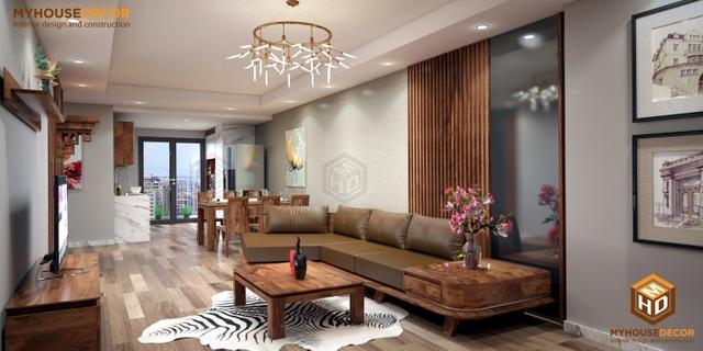 Một góc phòng khách sang trọng với vật liệu gỗ óc chó nhập khẩu Bắc mỹ
