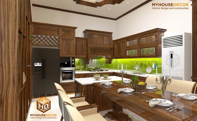 Hệ thống bếp trong không gian biệt thự cao cấp với gỗ óc chó