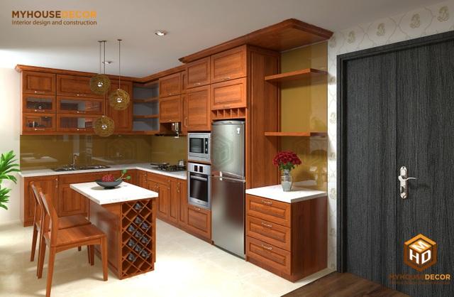 Căn bếp đầy đủ tiện nghi với gỗ xoan đào