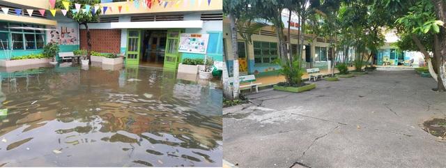 Sân trường mầm non Tuổi Thơ trước và sau khi khắc phục ngập