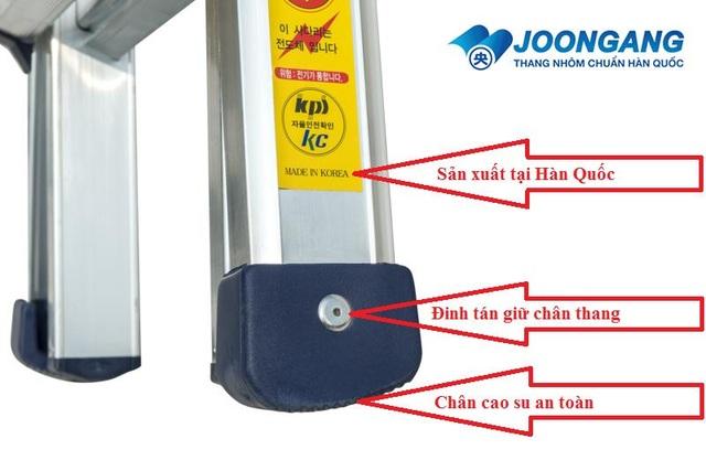 Chân thang nhôm Joongang Hàn quốc được thiết kế chắc