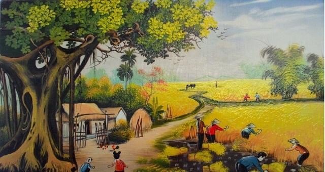 Tranh nghệ thuật thường lấy bối cảnh làng quê hay cuộc sống thường nhật của người Việt.