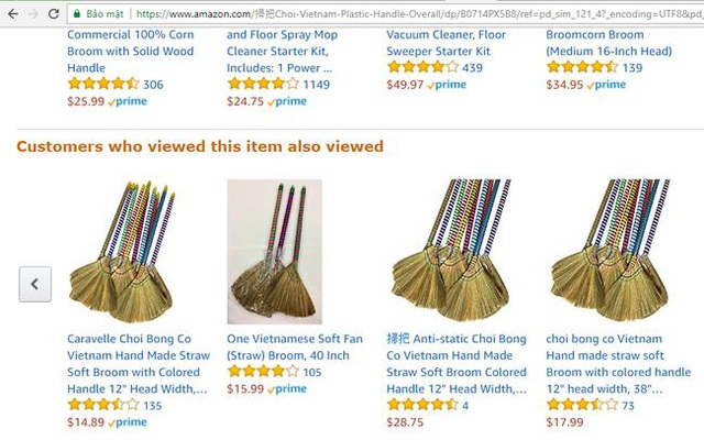 Chổi chít – một sản phẩm quen thuộc ở Việt Nam đang được rao bán trên Amazon