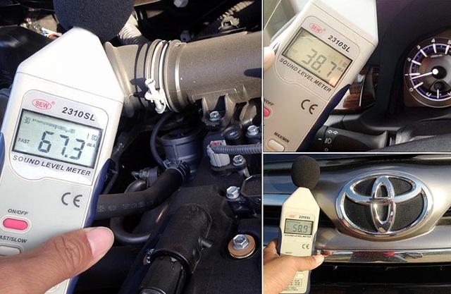 Độ ồn đo được trên Innova thế hệ thứ hai ở các vị trí khoang động cơ, mũi xe và khoang lái ở chế độ không tải (tốc độ động cơ 800 vòng/phút).