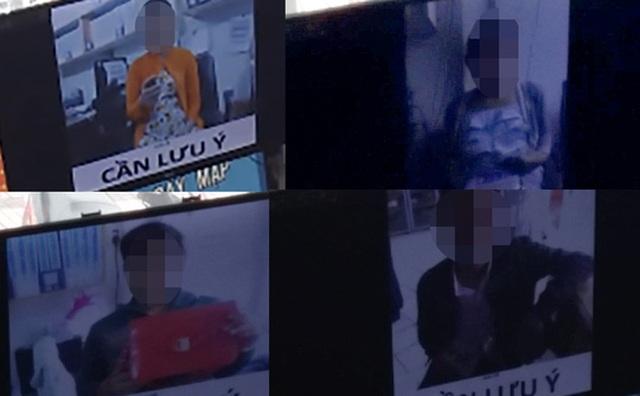 Một số người vào siêu thị trộm bị bắt được và phải chụp hình cùng tang vật để chiếu lên màn hình