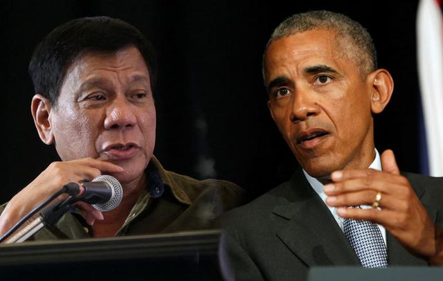 Tổng thống Philippines Rodrigo Duterte (trái) và Tổng thống Mỹ Barack Obama (phải). Ảnh: (Getty)